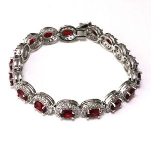 Jewelry - 1 Carat Oval Ruby Tennis Bracelet Women Wedding